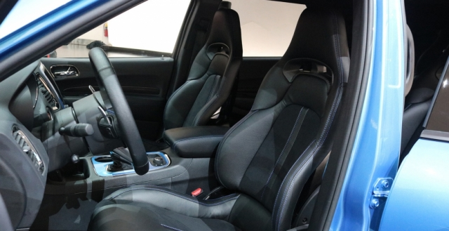 Leather seats inside of the forced car photo