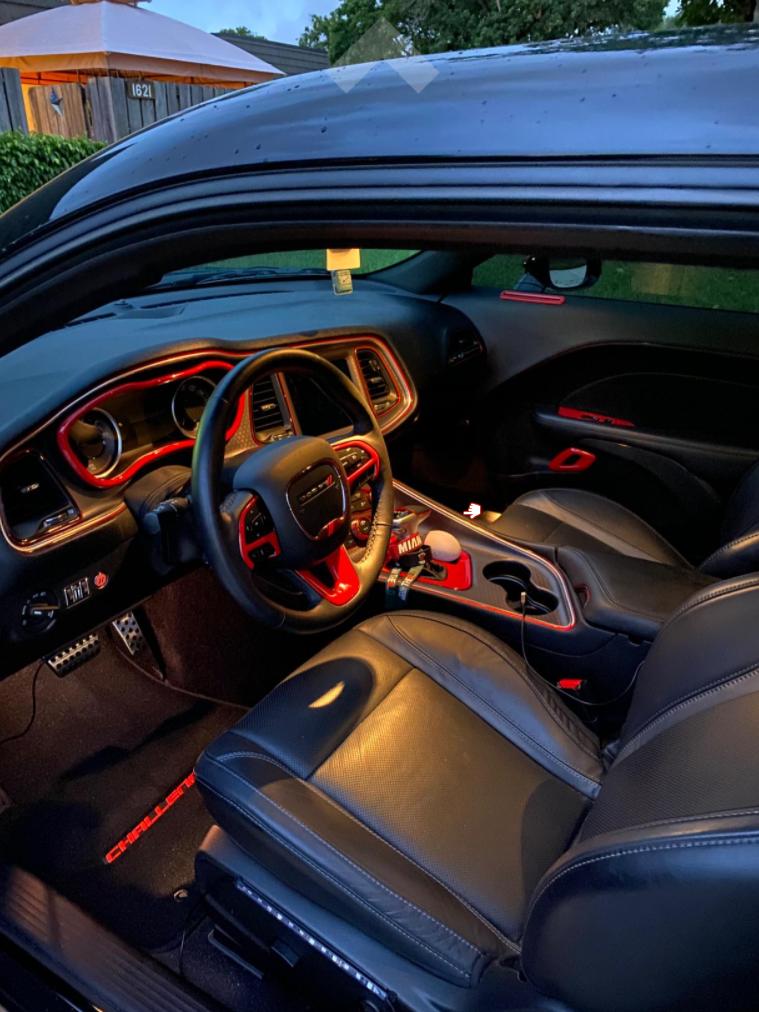 Black Lloyd Mats LogoMat Custom Floor Mats with red Challenger logo in car