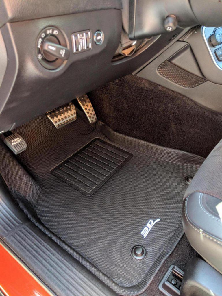 Black 3D MAXpider All-Weather Dodge Challenger RWD 2015-2020 Floor Mats in car