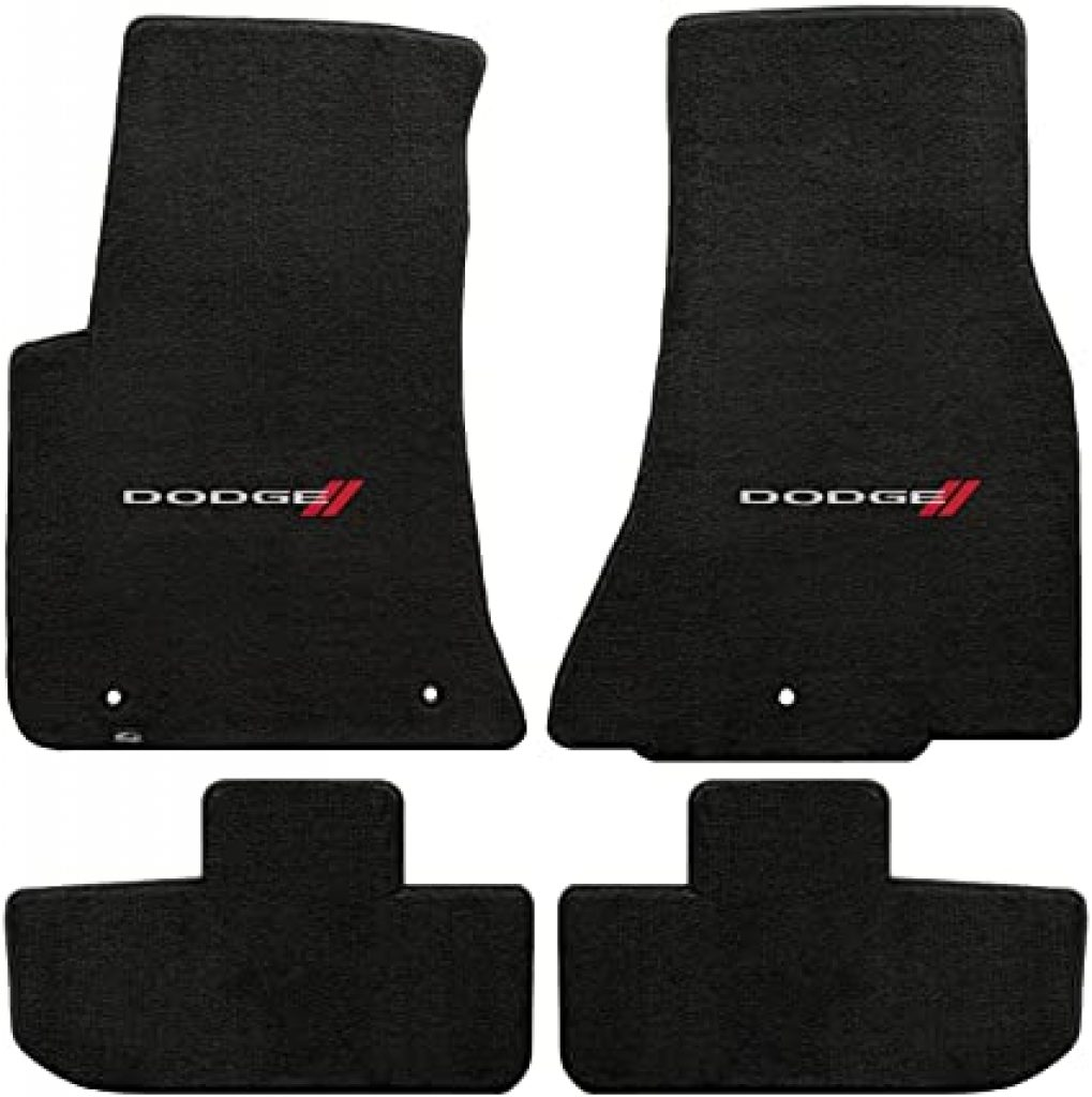 Black Lloyd Mats Dodge Challenger Front and Rear Black Mats with white Dodge logo
