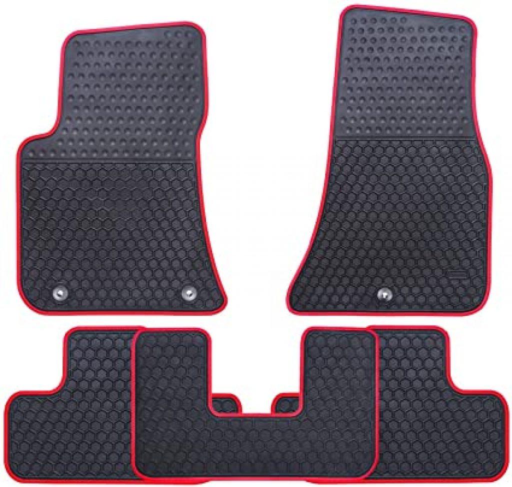 Black Ucaskin Car Floor Mats Custom Fit for Dodge Challenger with a red edge